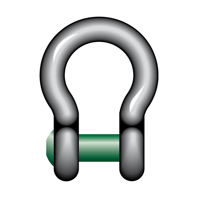 Green Pin Square Sunken Hole Bow Shackle - GPSQSUB - Towne Lifting & Testing