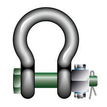 Load image into Gallery viewer, Green Pin Standard Bow Shackles with Fixed Nut Safety Pin - GPSABFN - Towne Lifting & Testing