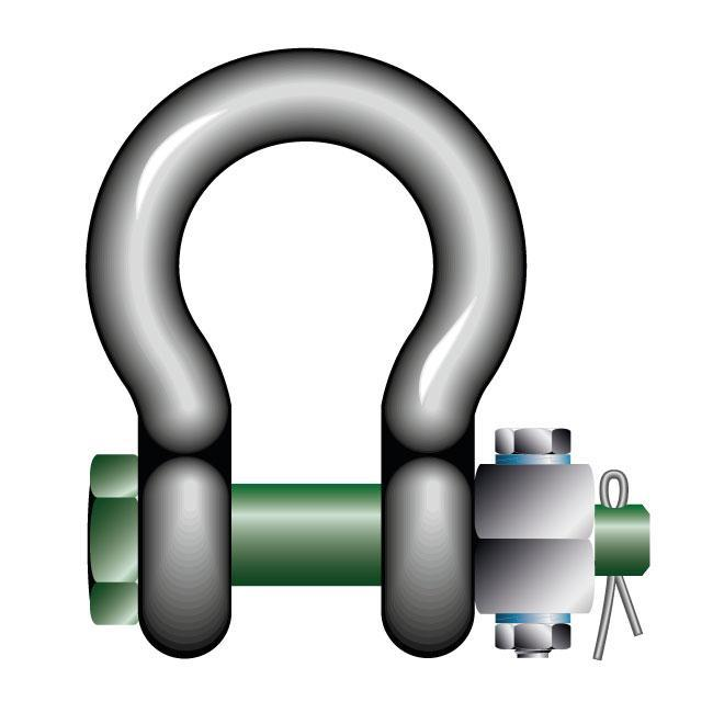 Green Pin Standard Bow Shackles with Fixed Nut Safety Pin - GPSABFN - Towne Lifting & Testing