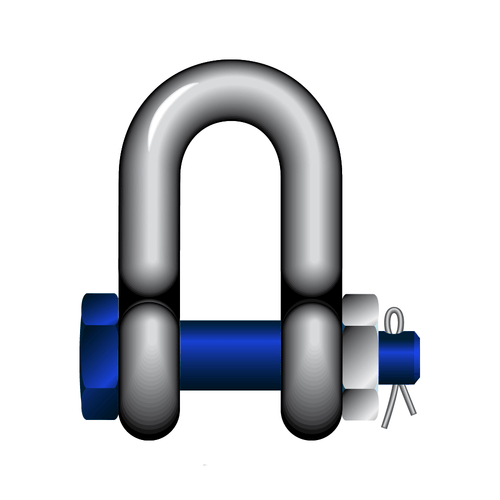 GT Blue Pin Standard Dee Shackles With Safety Nut And Bolt Pin - BPSAD - Towne Lifting & Testing