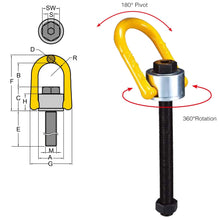 Load image into Gallery viewer, Swivel Hoist Ring Long Bolt - type 231 metric thread - Towne Lifting & Testing
