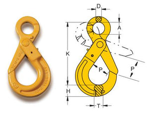Yoke Grade 8 Eye Self Locking Hook BS EN 1677-1+2 - Towne Lifting & Testing