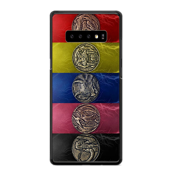 Round Silver Colored Coins Mighty Morphin Power Rangers Samsung Galaxy S10 Case | Babycasee