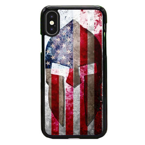 Spartan Helmet Across An American Flag iPhone XS Max Case | Babycase