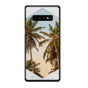 Summer Palm Trees Cali White Wood Samsung Galaxy S10 Case | Babycasee