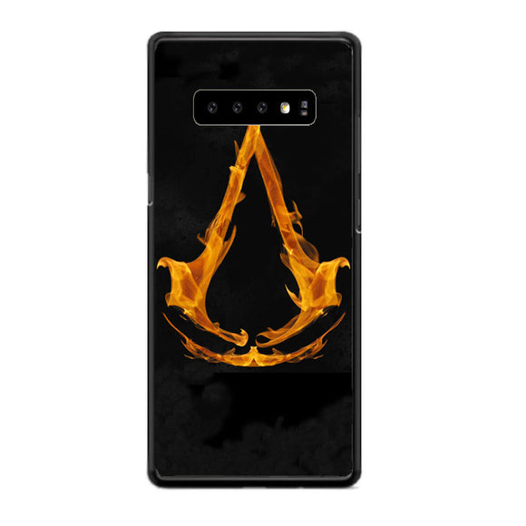 Assasin Creed On Fire Logo Samsung Galaxy S10 Case | Babycasee