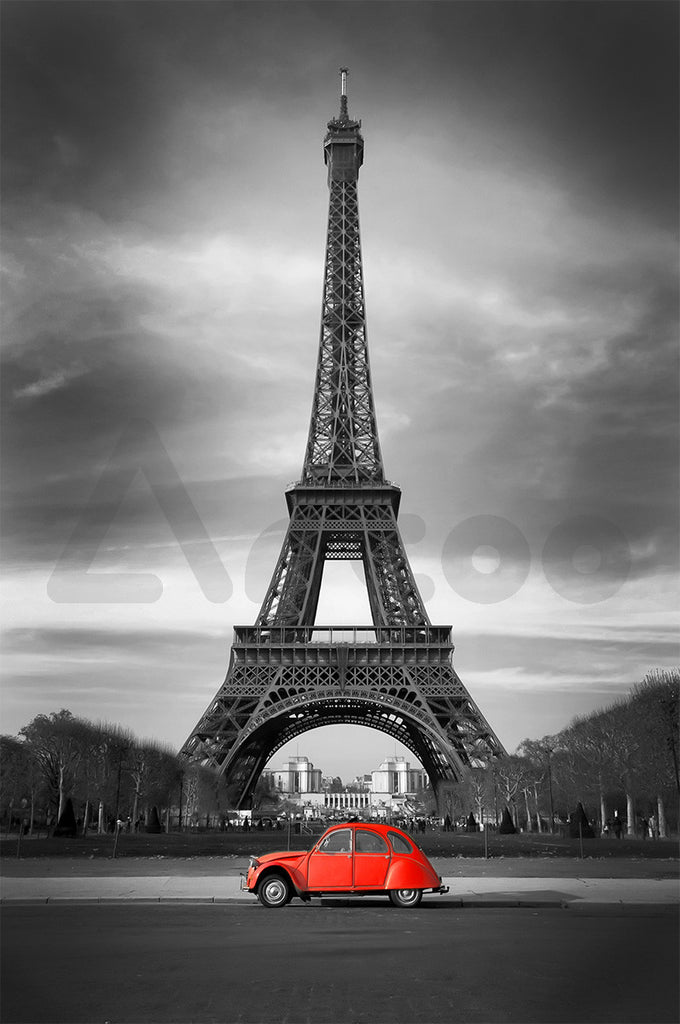艾菲爾鐵塔與紅車  Eiffel Tower and old red car