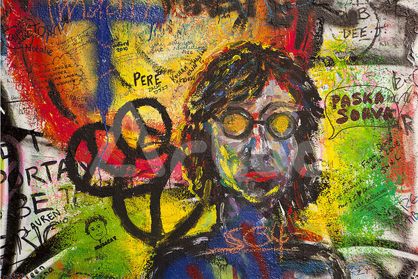 約翰藍儂塗鴉  A Portrait of John Lennon with Peace Symbols