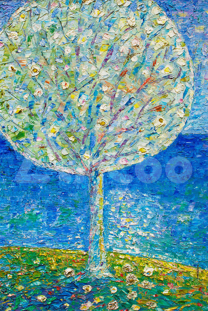 樹與微風  Tree in Blue Background