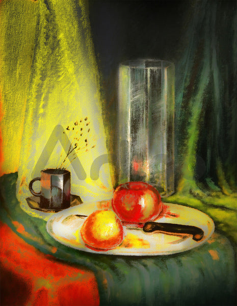盤中靜物  Apple and clementine on plate with knife, vase and coffee cup