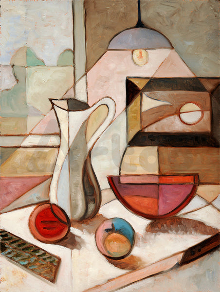 水果與瓶  Abstract oil painting of still life with pitcher and fruits