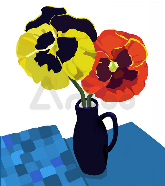 方桌上的三色堇 Pansies on Square Table