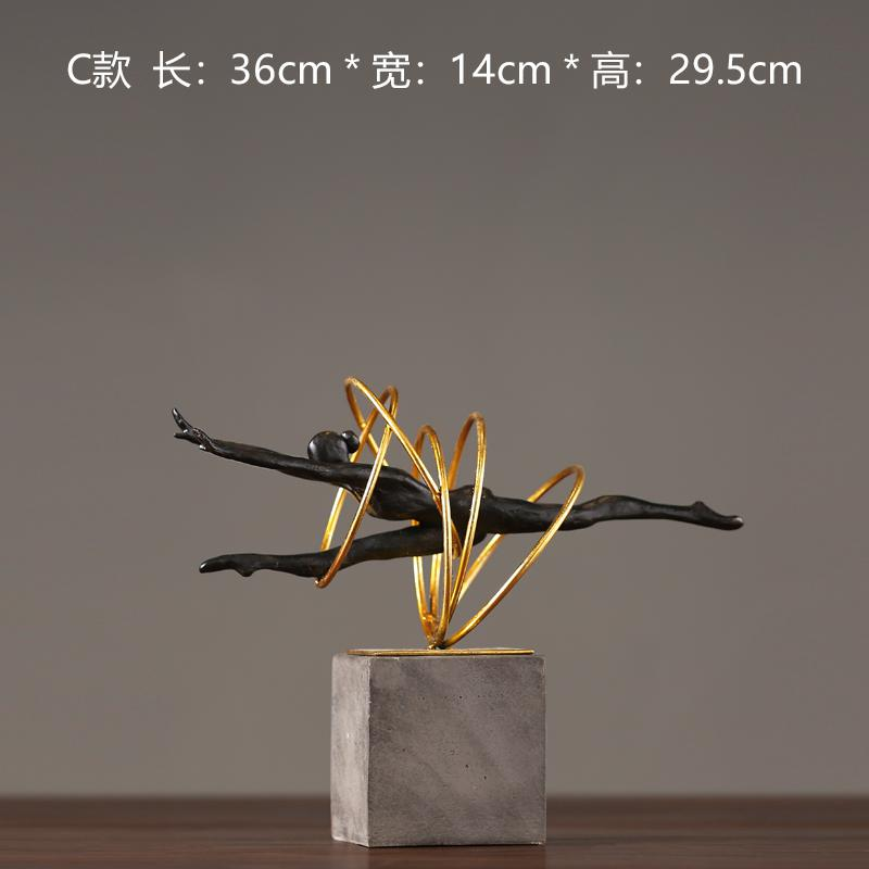 Vintage old wrought iron resin decoration gift Ballet girl home decoration hotel model decoration
