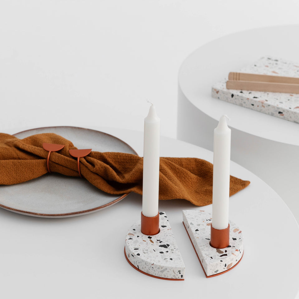 Off Cut Drop - Half Moon Candle Holders