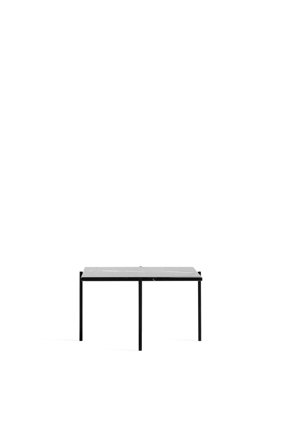 Side Table, Square - Marble Top, Black Legs
