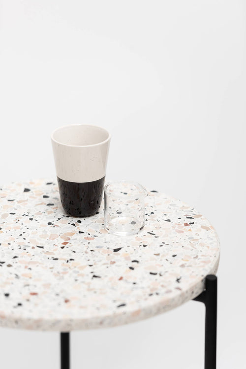 Side Table, Round - Marble Top, Black Legs Detail