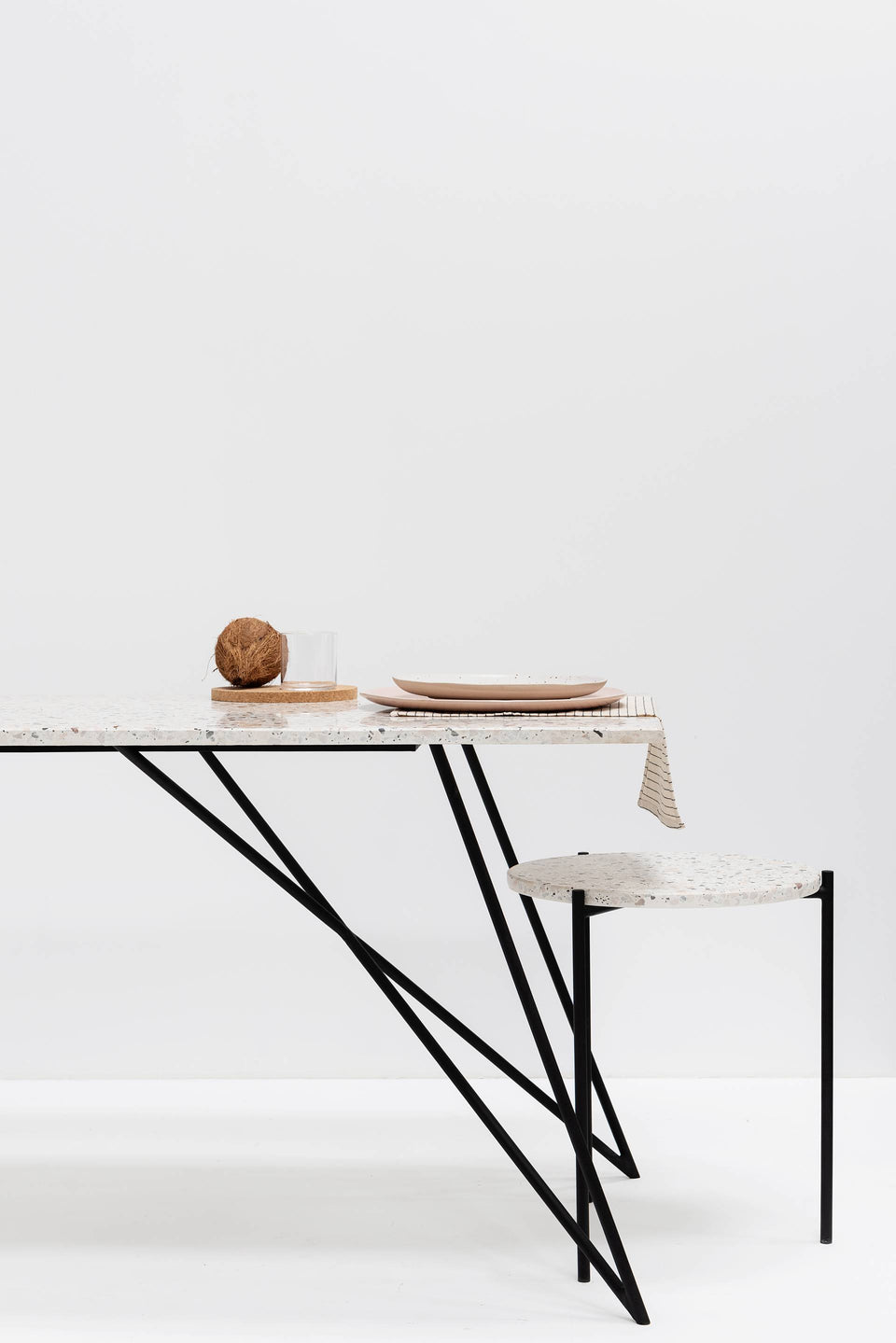 Dining Table, Rectangle, Large - Marble Top, Black Legs