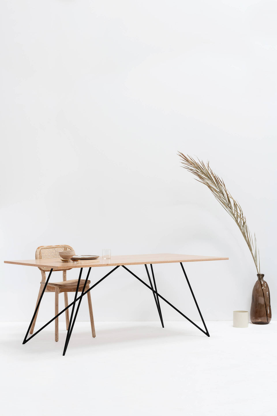 Dining Table, Rectangle, Large - Wooden Top, Black Legs