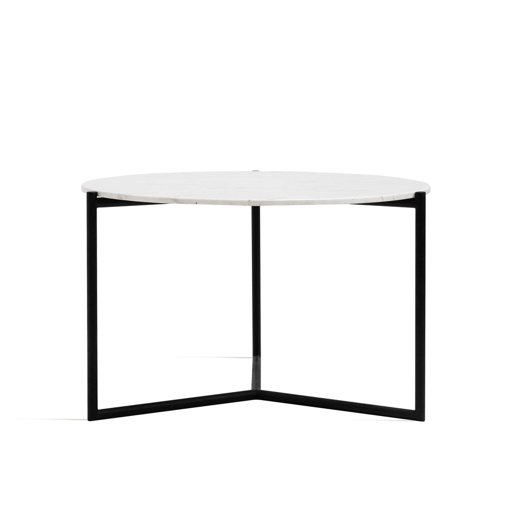 Marble Dining Table - Marble Top, Black Legs Round