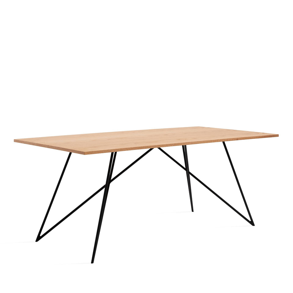 Oak Veneer Dining Table - Black Legs