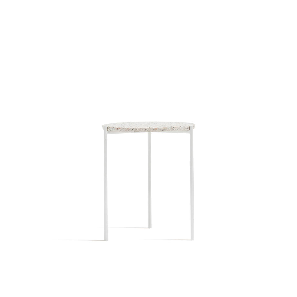 Marley Side Table - Marble Top, White Legs