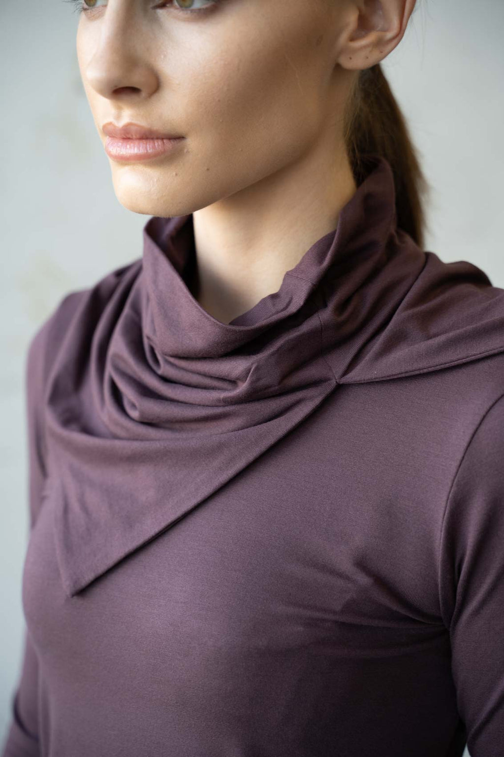 Moke Neck Top Eggplant