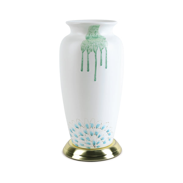 Peacock Vase-Jars & Vases-The Auri Collective