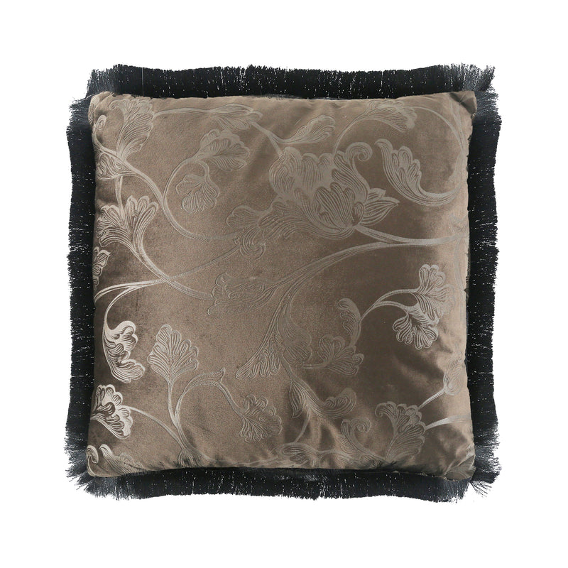 Cedar Wildflower Fringed Velvet Cushion-Cushions & Textiles-The Auri Collective