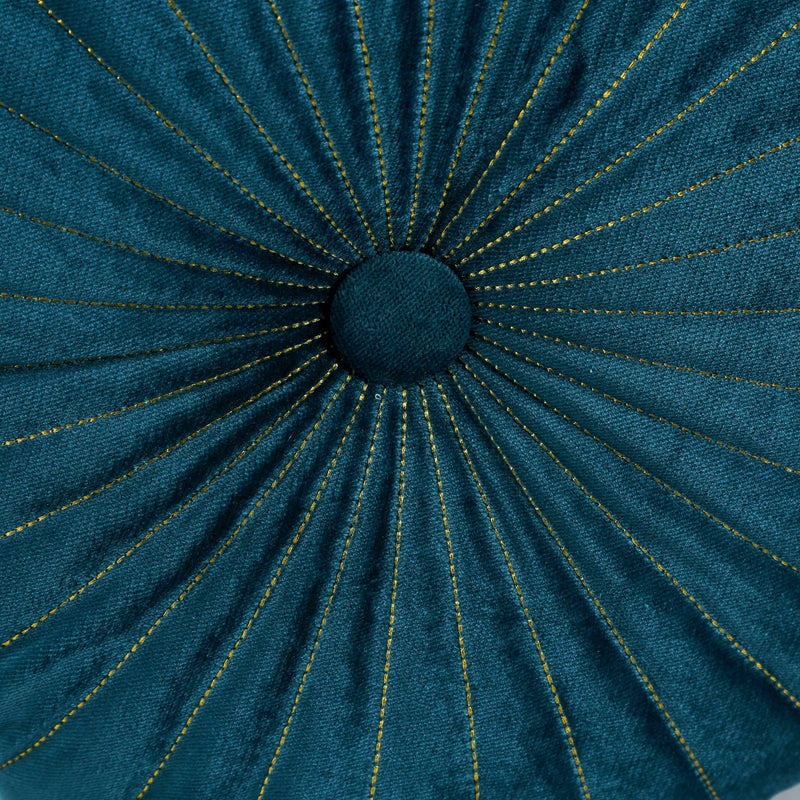 Emerald Velvet Round Cushion-Cushions & Textiles-The Auri Collective