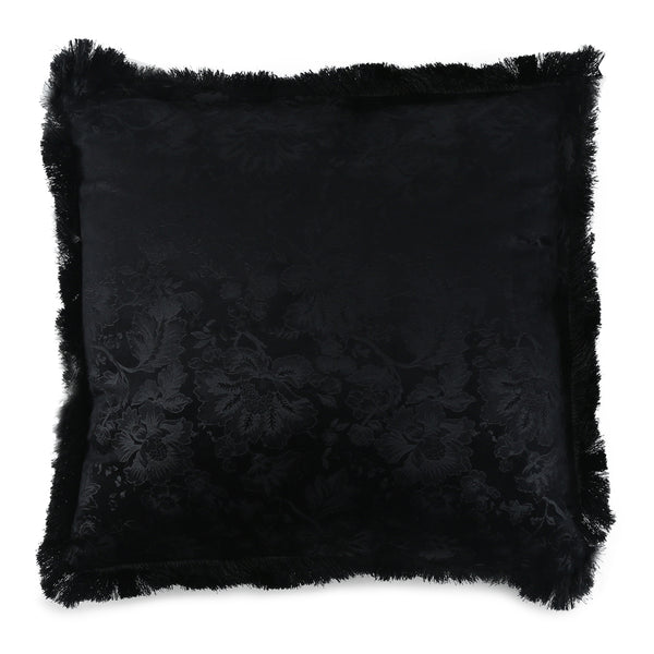 Midnight Wildflower Fringed Velvet Cushion-Cushions & Textiles-The Auri Collective