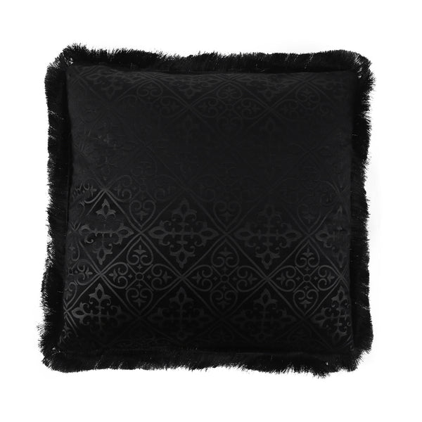 Midnight Gothic Fringed Velvet Cushion-Cushions & Textiles-The Auri Collective
