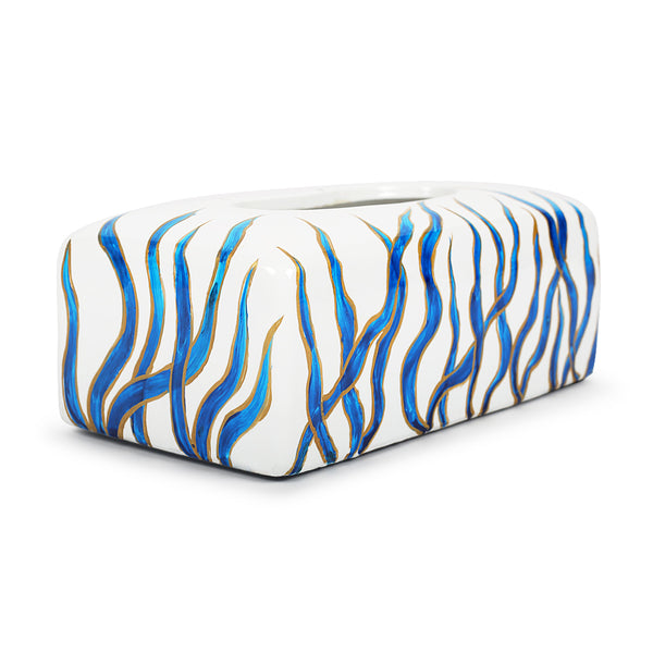 Aqua Marine Meadow Tissue Holder-Decorative Boxes-The Auri Collective