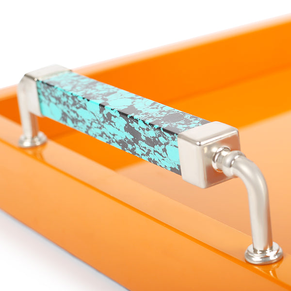 Extra Large Sea Green Handle Tray-Trays-The Auri Collective