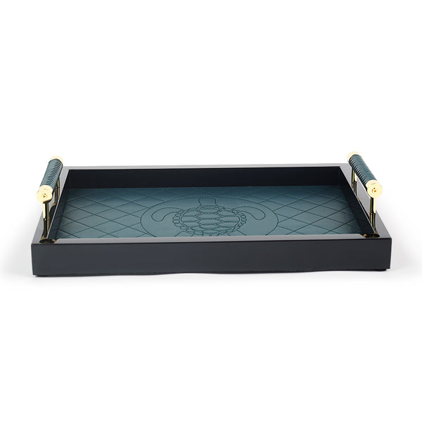 Teal Turtle Vegan Leather Tray with Handles-Trays-The Auri Collective