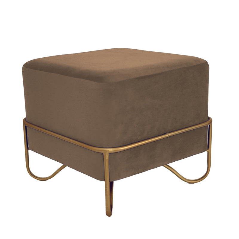Deco Square Velvet Ottoman (Color Customisable)-Pouffe & Ottoman-The Auri Collective