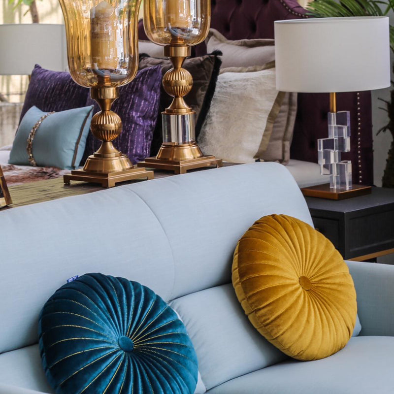 Warm Mustard Velvet Round Cushion-Cushions & Textiles-The Auri Collective
