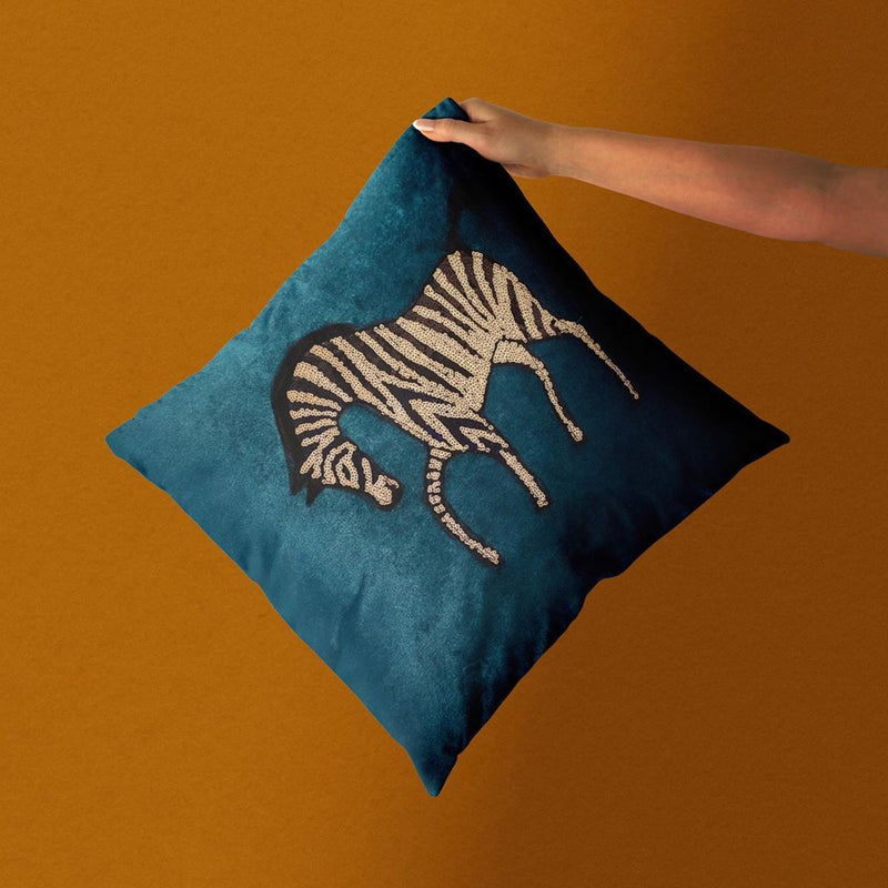Equus Garden Velvet Sequin Cushion-Cushions & Textiles-The Auri Collective