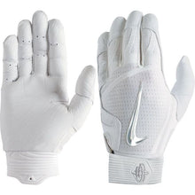 Load image into Gallery viewer, Nike Hurache Elite Adult Batting Gloves White/Chrome
