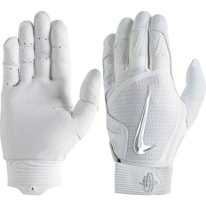 Nike Hurache Elite Adult Batting Gloves White/Chrome