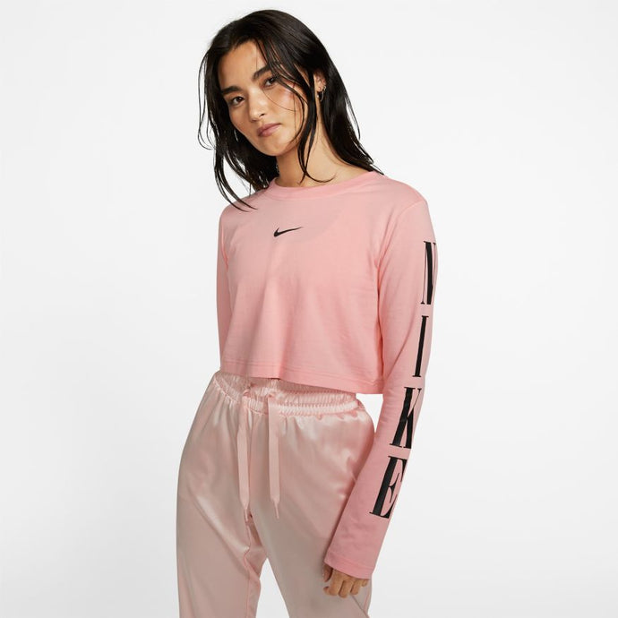 Womens Nike Sportswear Graphic Crop Long Sleeve Coral T-Shirt