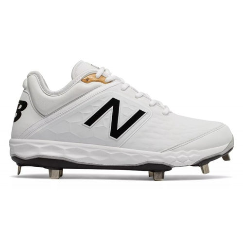 New Balance 3000 V4 White/Black Low Metal Baseball Cleats.