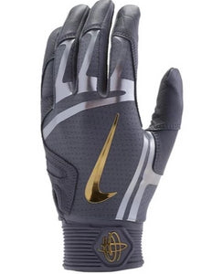 Nike Hurache Elite Adult Batting Gloves Cool Grey/Metallic Gold