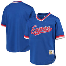 Load image into Gallery viewer, Montreal Expos Mitchell & Ness Blue Cooperstown Collection Mesh Wordmark V-Neck Jersey.