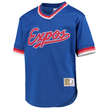 Load image into Gallery viewer, Montreal Expos Mitchell & Ness Blue Cooperstown Collection Mesh Wordmark V-Neck Jersey