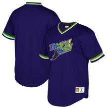 Load image into Gallery viewer, Tampa Bay Rays Mitchell & Ness Blue Cooperstown Collection Mesh Wordmark V-Neck Jersey