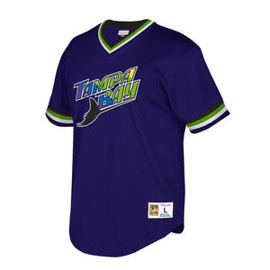 Tampa Bay Rays Mitchell & Ness Blue Cooperstown Collection Mesh Wordmark V-Neck Jersey