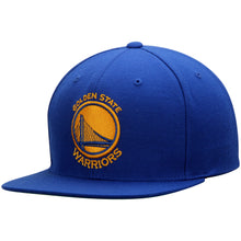 Load image into Gallery viewer, Golden State Warriors Mitchell & Ness Current Logo Wool Solid Snapback Adjustable Hat.