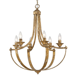 Victoria 6 Light Chandelier in Heirloom Gold