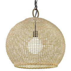 Reed Medium Pendant in Matte Black with Bamboo Shade