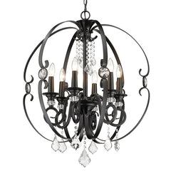 Ella 6 Light Chandelier in Matte Black
